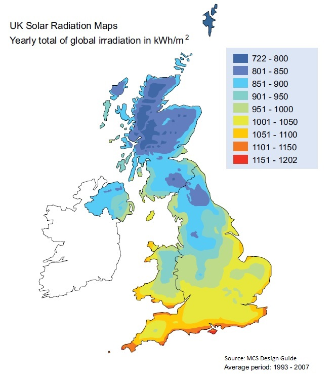 Figure 1 Solar radiation map of the UK, source MCS Design Guide